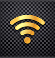 golden wifi icon gold wi fi wireless sign vector image