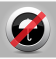 gray chrome button - no umbrella vector image vector image