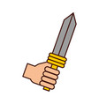 hand with sword weapon warrior game vector image vector image