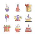 happy birthday decoration event festive vector image vector image