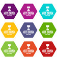 hot drink icons set 9 vector image