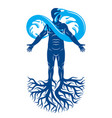 human being strong athlete with tree roots and vector image vector image