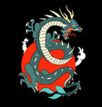 japanese flying dragon with red sun with floating vector image vector image