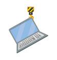 laptop wih crane hook vector image vector image