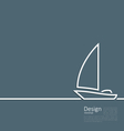 Logo of sailboat in minimal flat style line vector image vector image