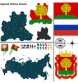Map of Oblast of Lipetsk vector image vector image