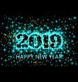 neon blue typography happy new year 2019 in vector image vector image