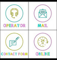 operator icon posters set vector image vector image