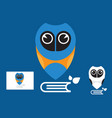 owl education logo with business card vector image vector image