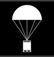 parachute with cargo it is the white color icon vector image vector image