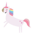picture of unicorn jumping in the air color on vector image vector image