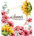 poppy and sunflowers card watercolor summer vector image vector image