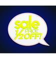 Sale tag half price off bright yellow vector image