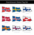 scandinavian states waving flag set vector image
