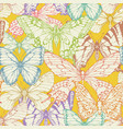 Seamless pattern with colored hand drawn butterfly
