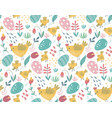 seamless pattern with rabbits chicken vector image