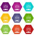 serfing board icon set color hexahedron vector image