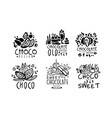 set logos for a confectionery with chocolate vector image