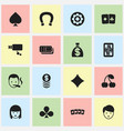 set of 16 editable gambling icons includes vector image vector image