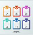 six multicolored rectangular tags with lettered vector image
