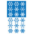 snowflakes icons on white and blue background vector image vector image