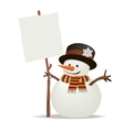 Snowman holds up the message vector image vector image