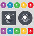 sunset icon sign A set of 12 colored buttons Flat vector image