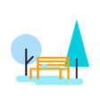 trees and bench composition vector image