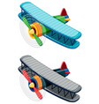 two old-fashioned airplanes on white background vector image vector image