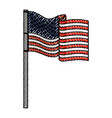 united states flag waving in colored crayon vector image vector image