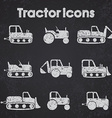 Various Tractor and Construction Machinery Icon vector image
