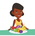 Woman with fresh fruits vector image vector image