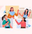 women communicate in video calling vector image