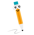 Cute happy Pencil mascot isolated on white vector image