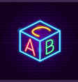 abc cube neon sign vector image vector image