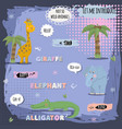 african animals characner giraffeelephant vector image