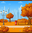 autumn city park with bench and town buildings vector image vector image