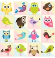 background with funny birds and owls vector image vector image