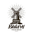 bakery bakehouse logo or label windmill mill vector image vector image