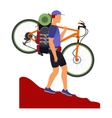 Bicycle travel Man descends from the mountains vector image