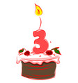 birthday cake with number three on white vector image vector image