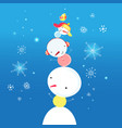 bright funny snowman vector image vector image