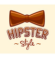 brown bow tie and lettering hipster style vector image vector image
