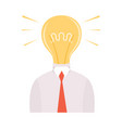 businessman with glowing bright bulb instead of vector image vector image