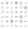 butterfly icons set outline style vector image vector image