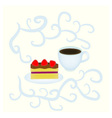 Cake and cup vector image