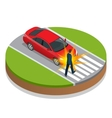 Car accident Accident car and pedestrian Flat 3d vector image