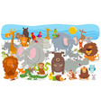 cartoon animal characters group background vector image vector image