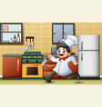 cartoon chef running with a knife in the kitchen vector image vector image