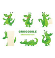 cartoon crocodile characters alligator wild vector image vector image